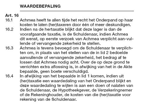 Voorwaarden hertaxatie Achmea