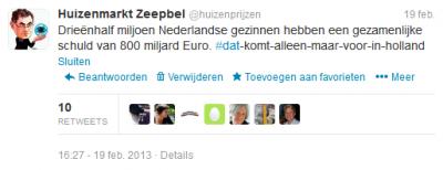 Drieënhalf miljoen Nederlandse gezinnen hebben een gezamenlijke schuld van 800 miljard Euro
